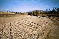 Pea gravel bedding area by road