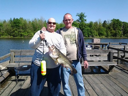 Carolyn Lamont with 8 1/2 lb bass on topwater.