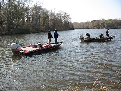 Filming TV episode on Lake Eli