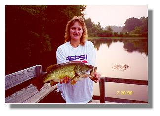 Sara Jones with an 8 1/2 lb bass from Lake Gayle